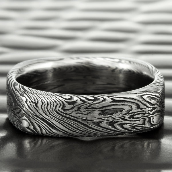 Titanium and Zirconium Mokume Square 5mm Wedding Band | DARK WOOD