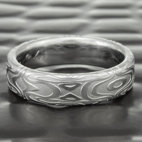 Flat Mirror Image 5mm Wide Damascus Steel Band | REFLECTIONS