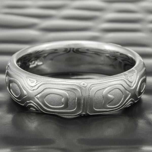 Domed 6mm Damascus Steel Wedding Ring | REFLECTIONS