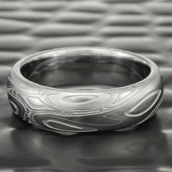 Domed 6mm Wide Damascus Steel Wedding Ring | EDDY & POOLS