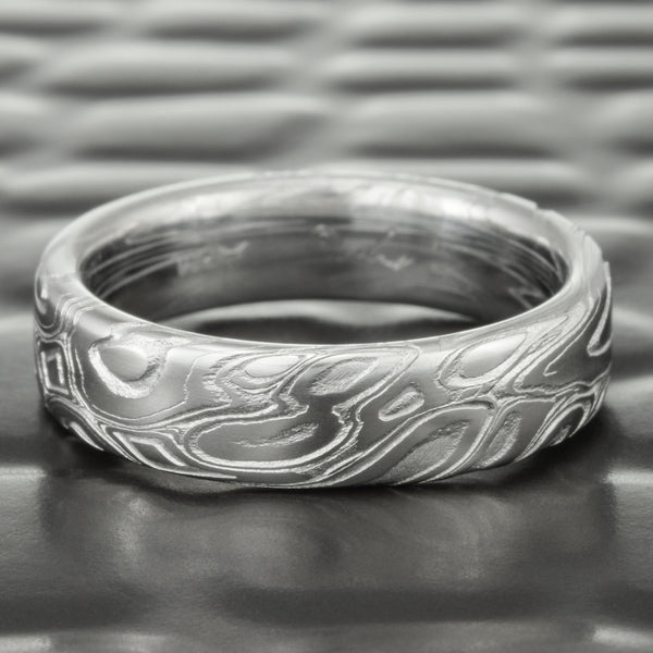 Flat 6mm Wide Damascus Wedding Band | EDDY & POOLS