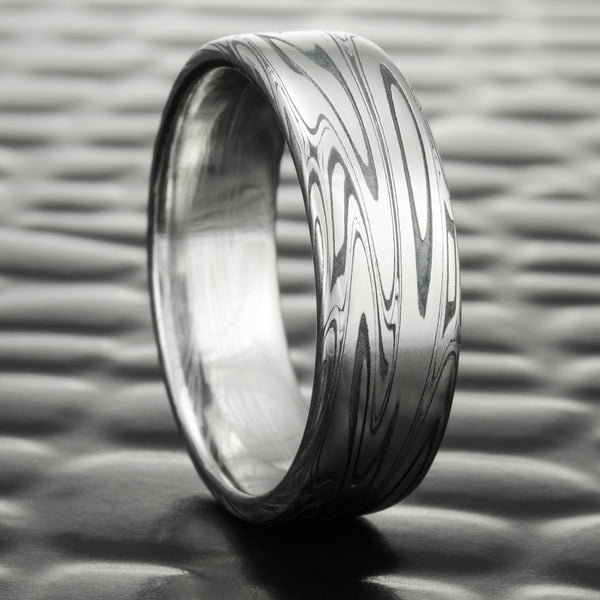 Flat 7mm Wide Damascus Steel Wedding Ring with Fire Oxide | SWIRLING CURRENT