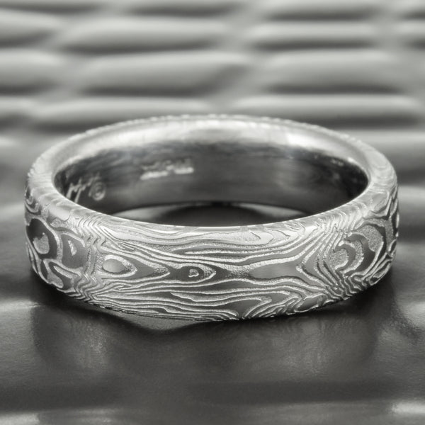 Flat Damascus Steel Wedding Band 6mm Wide | BOOKMATCHED