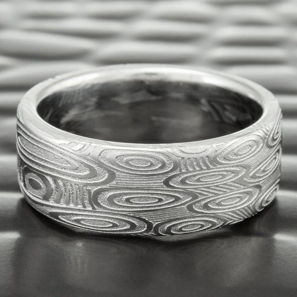 Flat 7mm Wide Damascus Wedding Band | CROP CIRCLES