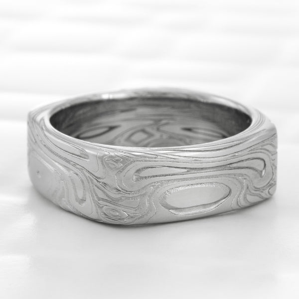 Damascus Steel Square Ring 6mm Band | TWISTED BURL