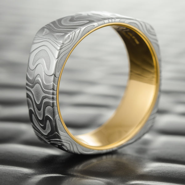Damascus Steel 8mm Wide Wedding Band With 14K Gold Liner | REFLECTIONS