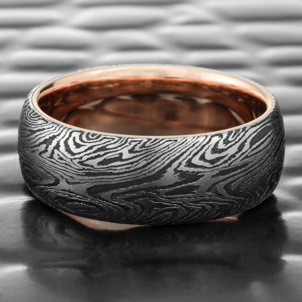 Domed 7mm Titanium & Black Zirconium Mokume Wedding Band with 14K Rose Gold Liner  |  DARK BURL