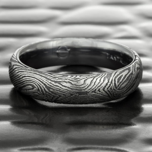 Men's Flat 6mm Mokume Wedding Band in Titanium & Black Zirconium with a Tantalum Liner  |  DARK BURL