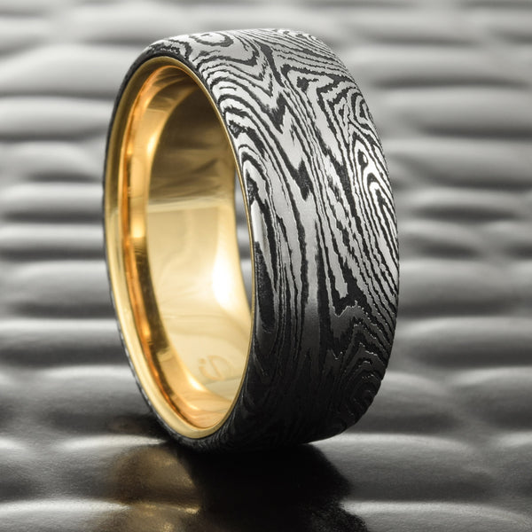 Men's Flat 8mm Mokume Wedding Band with 14K Yellow Gold Liner  |  DARK BURL