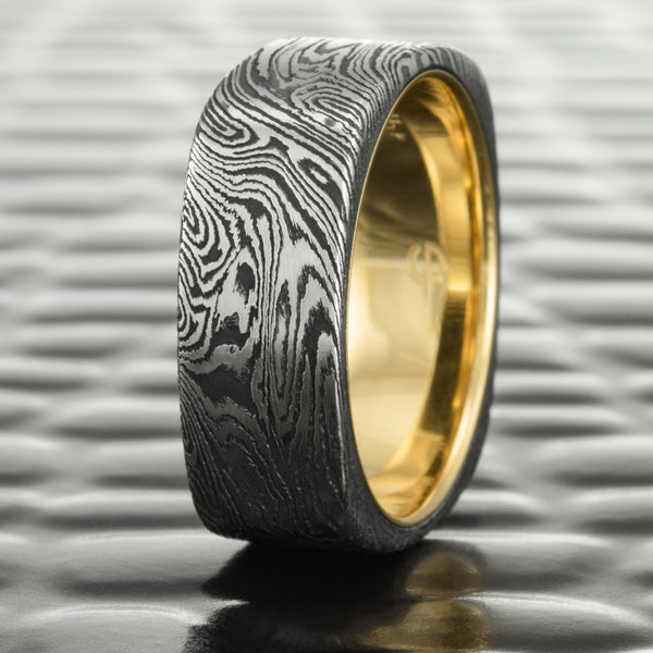 Square Mokume Gane 9mm Band in Titanium & Black Zirconium with 14K Yellow Gold Liner  |  DARK BURL