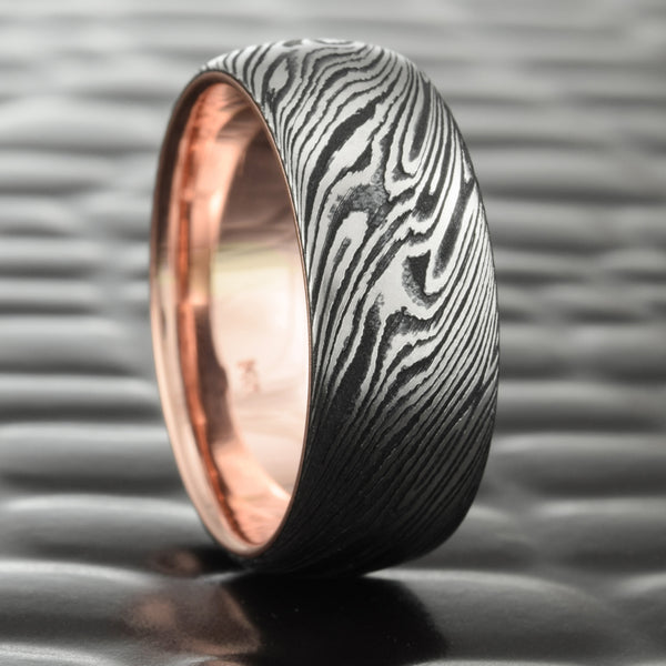 Titanium & Black Zirconium 8mm Domed Mokume Band with 14K Rose Gold Liner  |  DARK WOOD