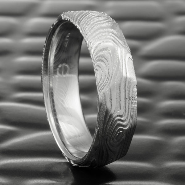 Hand Faceted 6mm Wide Damascus Steel Woodgrain Ring  |  EPIC WOOD