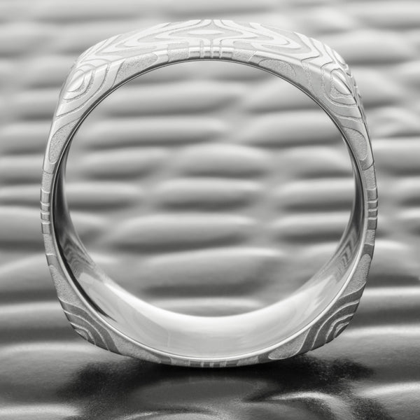 Square Damascus Steel 8mm Wedding Band for Men  |  REFLECTIONS