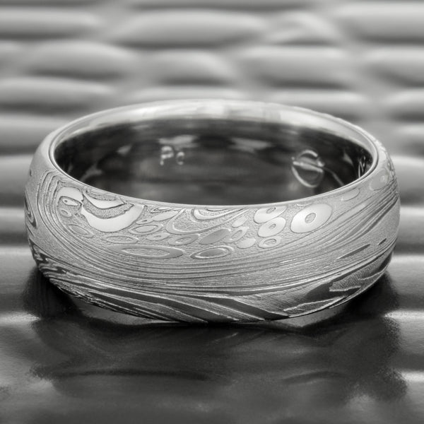 Ocean Inspired Damascus 8mm Width Wedding Band with Palladium Liner  |  TIDEPOOLS