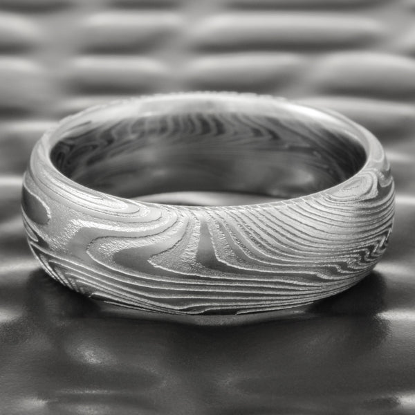 Realistic Woodgrain 7mm Domed Damascus Steel Wedding Band  |  EPIC WOOD