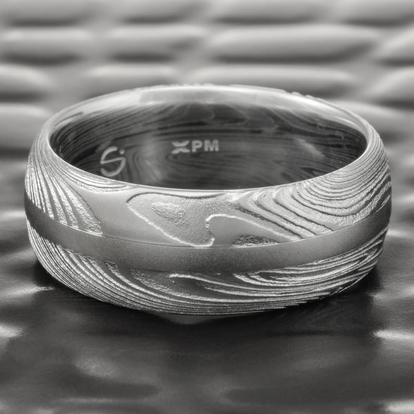 Domed Natural Woodgrain 8mm Ring with Center Palladium Inlay  |  EPIC WOOD