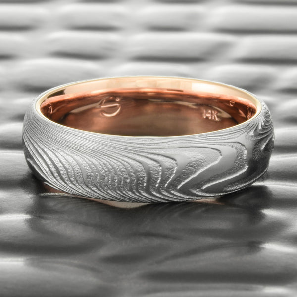 Domed Realistic Woodgrain Damascus Wedding Band with 14K Rose Gold Liner 6mm Wide  |  EPIC WOOD