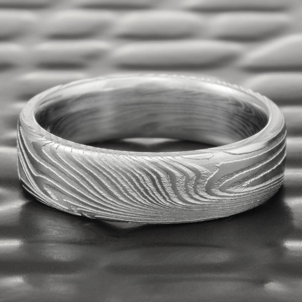 Flat 6mm Wide Damascus Steel Natural Woodgrain Pattern Ring  |  EPIC WOOD