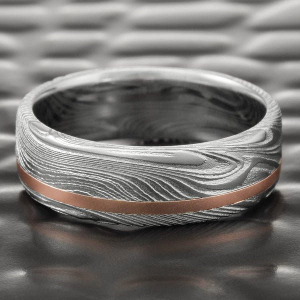 Flat Damascus Steel Realistic Woodgrain 7mm Wide Ring with Offset 14K Rose Gold Inlay  |  EPIC WOOD