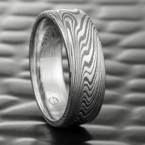 Woodgrain Damascus Steel Flat 7mm Wide Wedding Band with Fire Oxide  |  EPIC WOOD