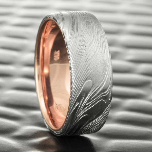 Realistic Natural Woodgrain 8mm Wide Ring with 14K Rose Gold Liner  |  EPIC WOOD