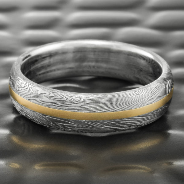 Domed Mens 6mm Wide Wedding Band with 14K Yellow Gold Inlay & Light Fire Oxide  |  FINE WOOD