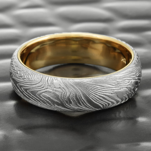 Domed Mens 6mm Wide Woodgrain Damascus Wedding Ring  |  FINE WOOD