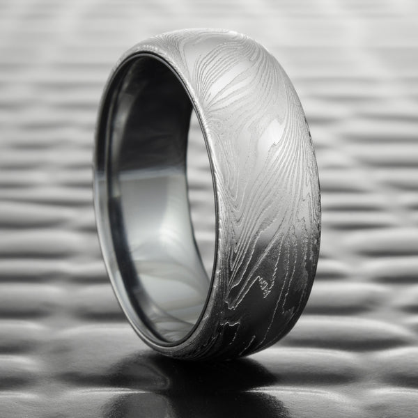 Domed Men's 8mm Wide Wedding Ring with Tantalum Liner  |  FINE WOOD