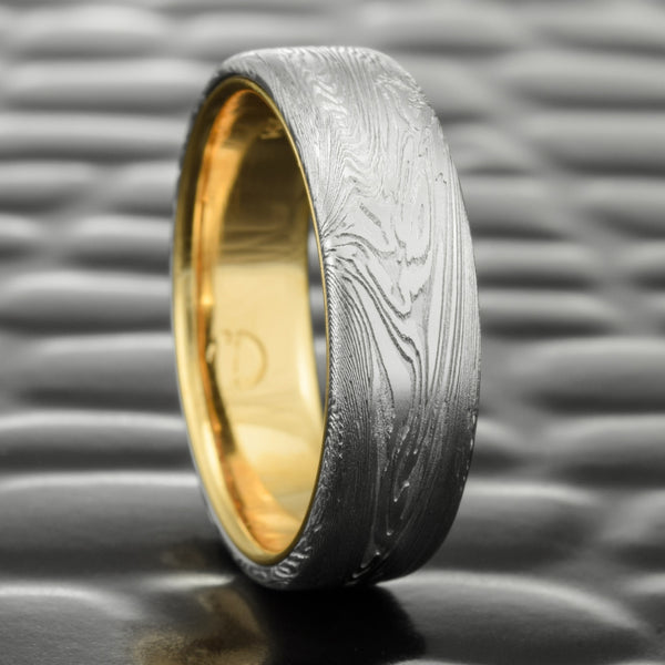 Mens Flat Woodgrain Damascus Wedding Ring with 14K Yellow Gold Liner 6mm Wide  |  FINE WOOD