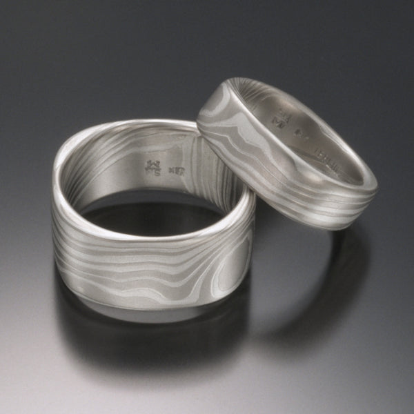 Mokume Gane Ring in 18K White Gold & Silver 8mm Square Band | TERRA