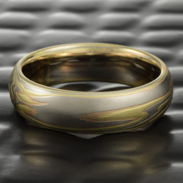 18K Tri-Colored 6mm Mokume Gane Wedding Band | TERRA