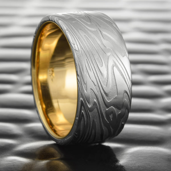 Woodgrain Damascus Flat 10mm Wide Wedding Band with 18K Yellow Gold Liner  |  ORGANIC WOOD