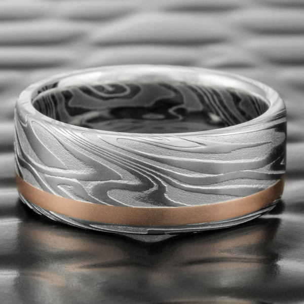 Damascus Steel Flat 8mm Wide Wedding Band with 14K Rose Gold Offset Inlay  |  ORGANIC WOOD