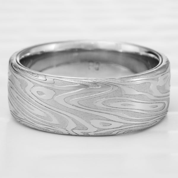 Flat 8mm Wide Damascus Wedding Band with Palladium Liner  |  ORGANIC WOOD
