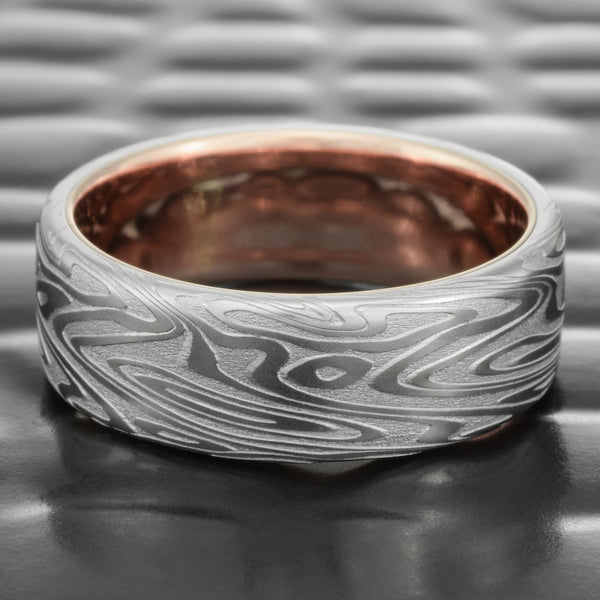 Flat 8mm Damascus Steel Wedding Band with 14K Rose Gold Liner  |  ORGANIC WOOD