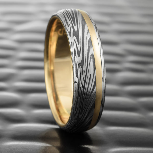 Domed 6mm Wide Damascus Band with Fire Oxide, 14K Yellow Gold Liner & Offset Inlay  |  ORGANIC WOOD