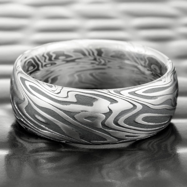Damascus Steel Alternative Domed 7mm Wide Wedding Ring with Fire Oxide  |  ORGANIC WOOD