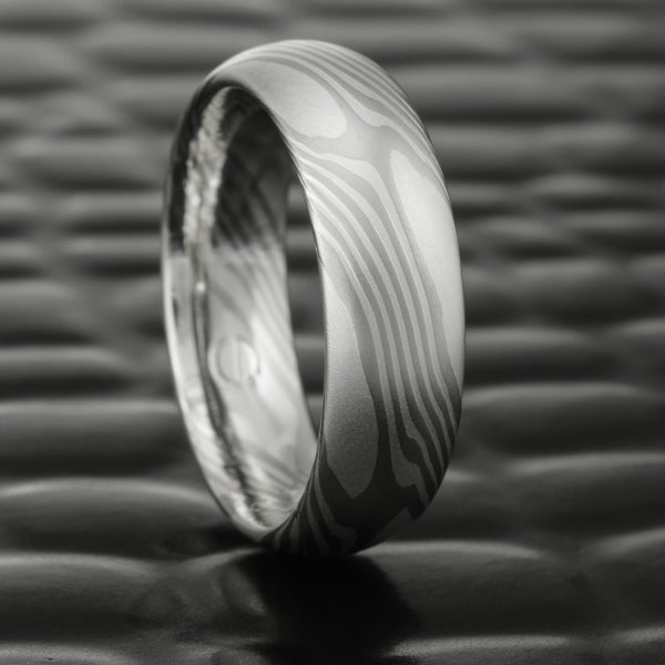 Palladium & Silver Mokume Gane 5mm Wedding Band | CLASSIC STAR