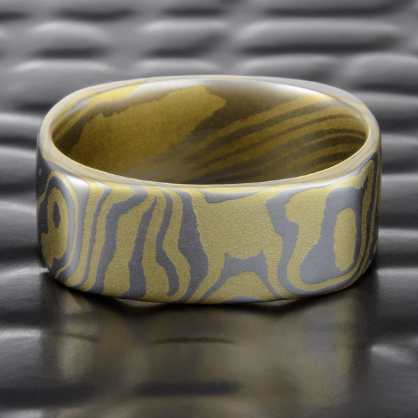 Square 6mm Platinum & 18K Gold Mokume Gane Ring | TERRA