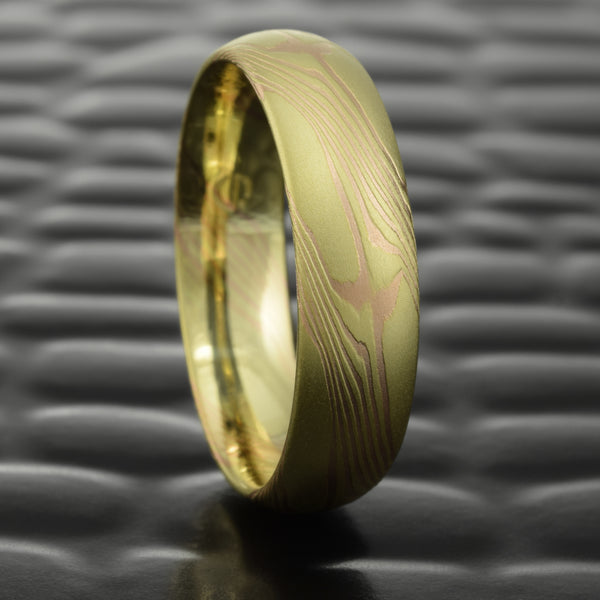 Mokume Gane 6mm Men's Wedding Band in 18K Yellow & Red Gold  |  CLASSIC STAR