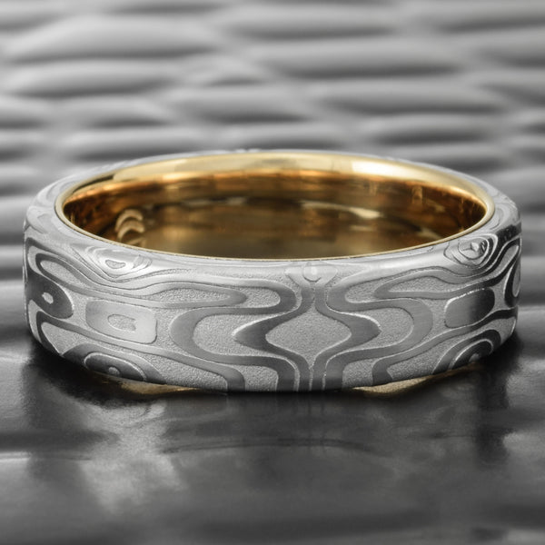 Mirror Image Flat 6mm Damascus Ring with 14k Yellow Gold Liner  |  REFLECTIONS