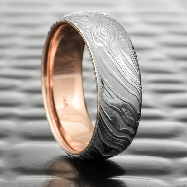 Damascus Steel Polished Domed 7mm Wide Wedding Ring for Men with 14k Rose Gold Liner  |  STAR