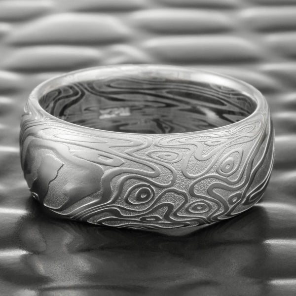 Damascus Steel Domed Wedding Band 8mm Wide  |  STAR