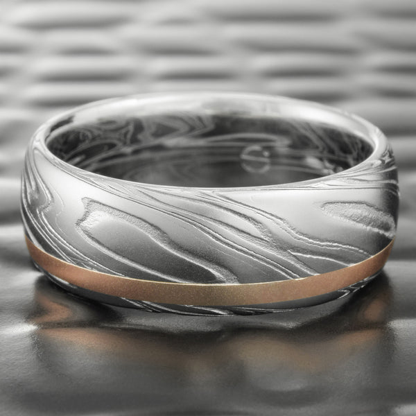 Domed Damascus Steel 8mm Band with Offset 14K Rose Gold Inlay  |  SWIRLING CURRENT