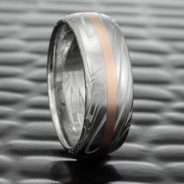Domed Damascus Steel 7mm Band with 14K Rose Gold Inlay  |  SWIRLING CURRENT