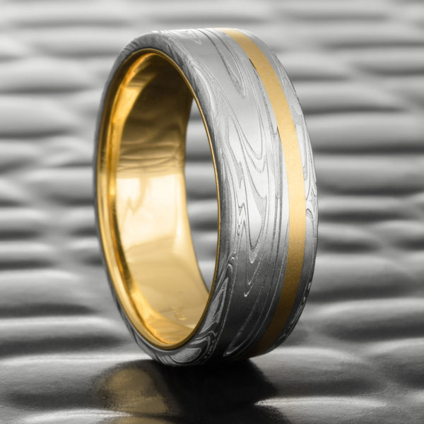 18K Yellow Gold Inlay & Liner 8mm Damascus Men's Band  |  SWIRLING CURRENT