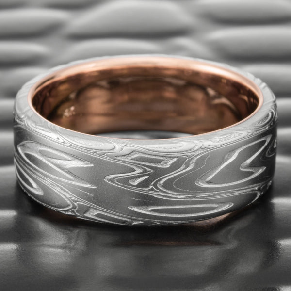 14K Rose Gold Lined 7mm Damascus Steel Flat Wedding Band for Men  |  SWIRLING CURRENT