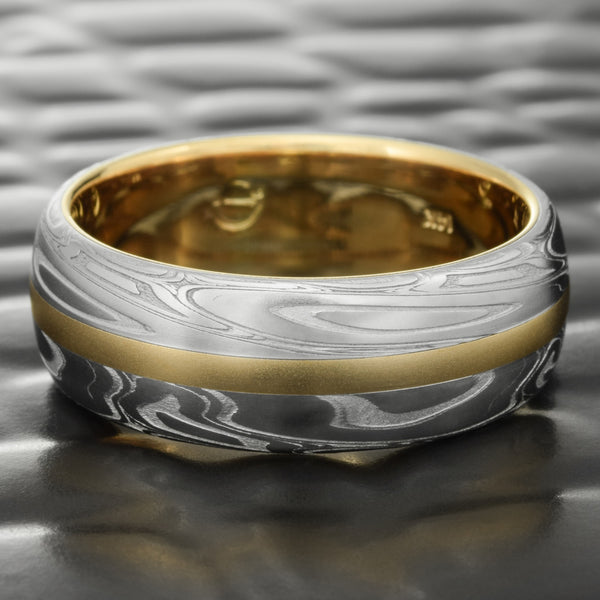 Domed 7mm Damascus Ring with 14K Yellow Gold Liner & Inlay  |  SWIRLING CURRENT