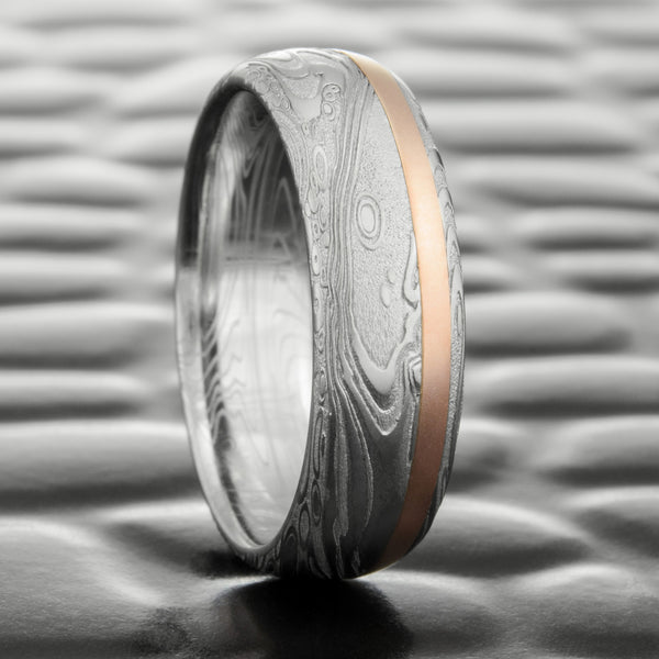 Damascus Steel Domed 7mm Wedding Band with 14K Rose Gold Offset Inlay  |  TIDEPOOLS