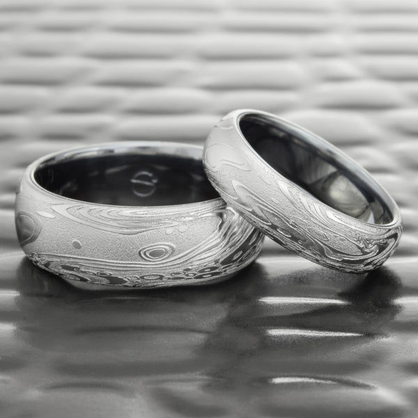 Tantalum and Damascus Steel Domed 8mm Wedding Band  |  TIDEPOOLS